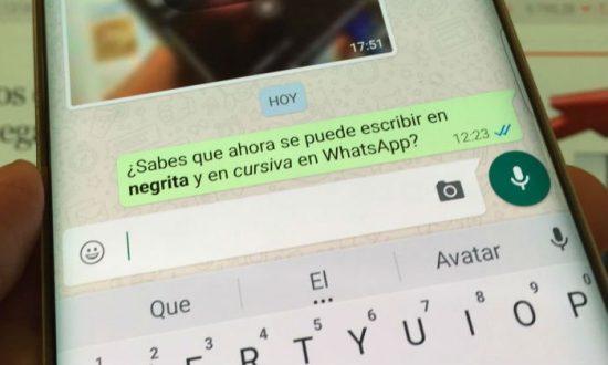 whatsapp escribir negrita cursiva y tachar